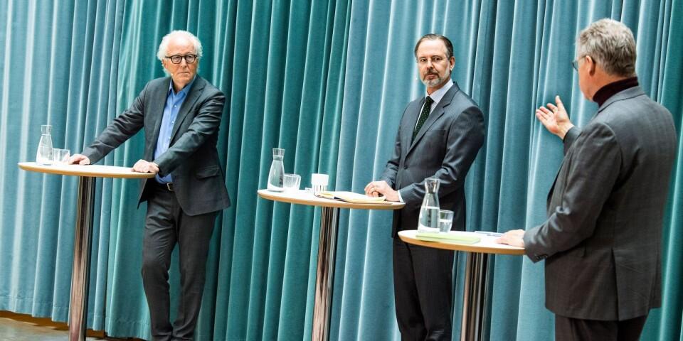 Bidragande till Omstartskommissionen är bland andra Lars Heikensten, Anders Borg och Klas Eklund som här deltar vid uppstarten.