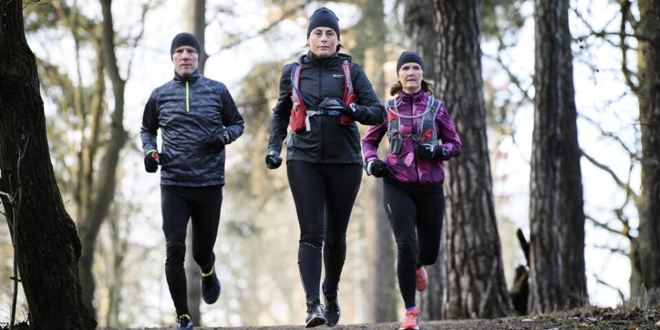 Annika Callerud, i mitten, under en träningstur med Göran och Viktoria Dahl.