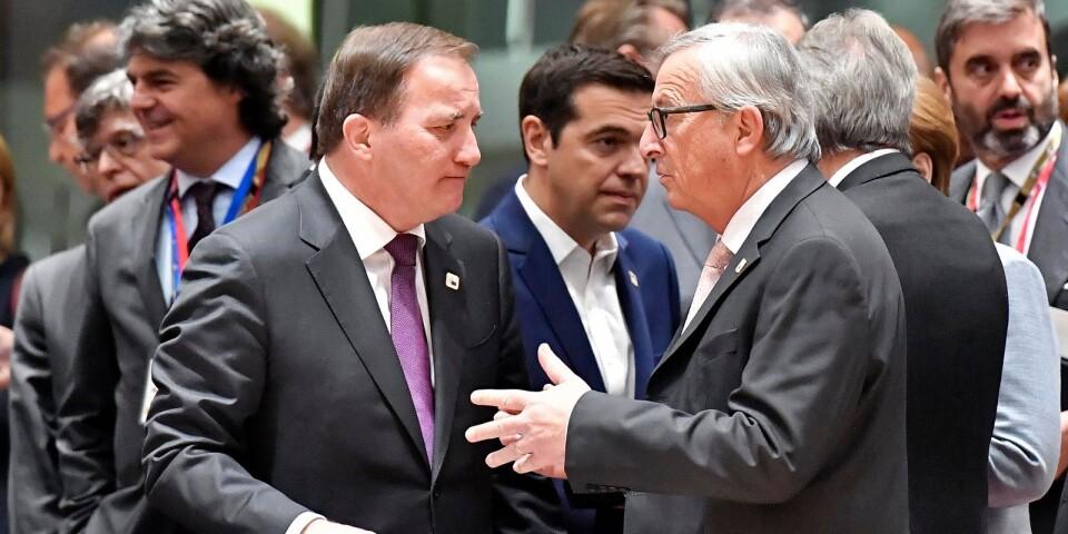 Jean-Claude Juncker och Stefan Löfven under ett möte i Bryssel 2017.