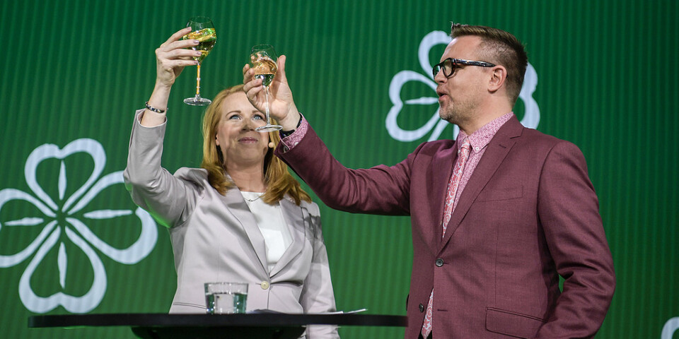 Annie Lööf och Fredrick Federley är minst sagt nöjda med valresultatet.