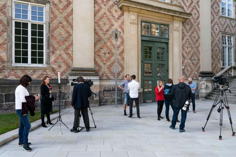 Media utanför till Østre landsret i Köpenhamn.