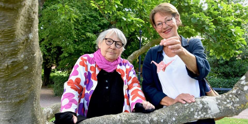 Ingalill Bjartén och Gudrun Schyman står vid det träd i den Bergengrenska trädgården som blir centralpunkt för papperstraneaktionen mot kärnvapen.