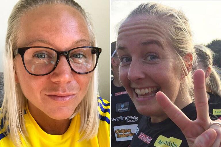 Frida Jacobsson, i gult, och Emma Svensson har testat på tränarkarriären. Uppdraget var kul, men tidsåtgången var tuff enligt duon.