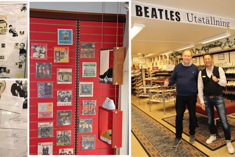 Beatles kliver in i skobutik