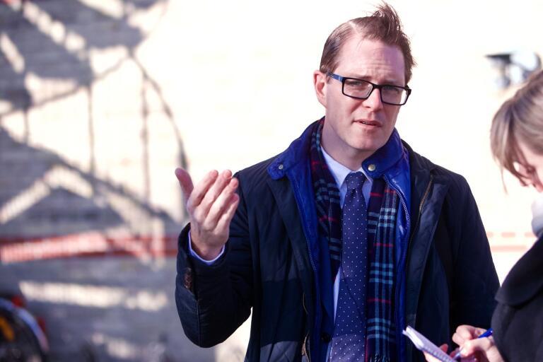 Moderaternas näringspolitiske talesperson Lars Hjälmered besökte Trelleborg på måndagen.