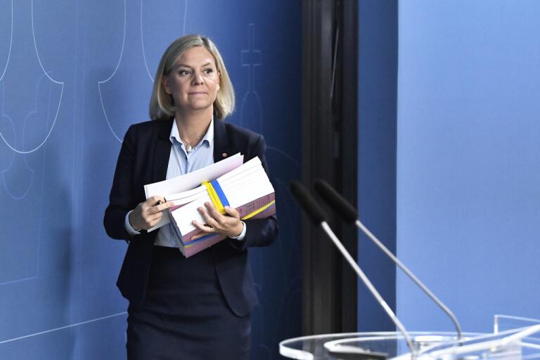 Finansminister Magdalena Andersson (S), när hon presenterade budgeten förra året. Arkivbild.