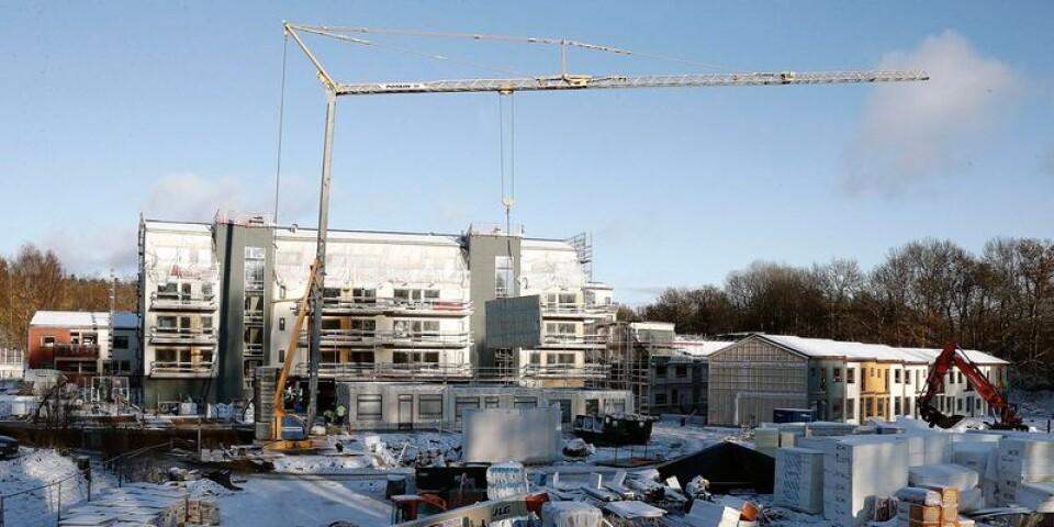 En bild från i fjol under byggandet av en av etapperna av Hestra parkstad.