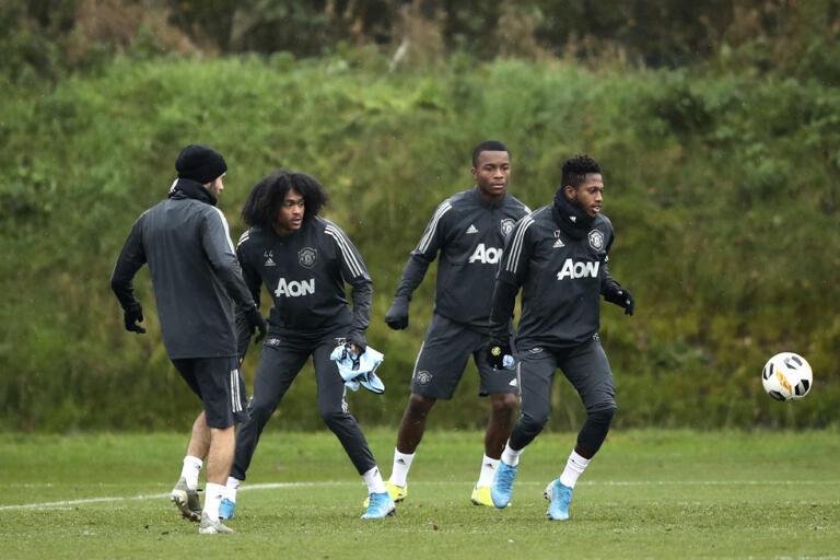 Manchester United under en träning i höstas.