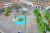 En skiss på hur Torget kommer att bli när allt blir färdigt. Med en cykelbana som sträcker sig längs med hela Centralgatan och sedan korsar Torget mitt på – och med mer grönska än i dag.