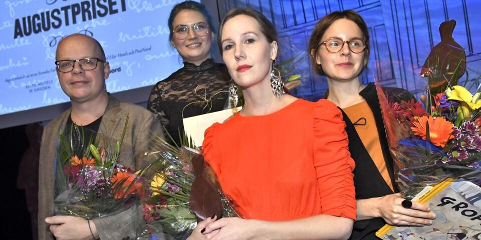 Augustpristagarna: Magnus Västerbro, Linn Spjuth, Linnea Axelsson och Emma Adbåge vid  Augustpriset 2018 i Konserthuset.