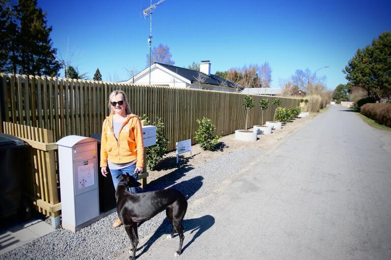 """Beddingestrands samfällighetsförening kräver att Susanne Nilsson tar bort den den fasta platsen för sopkärlen liksom växterna och betongkrukorna. """"Det känns väldigt orättvist att de """"pinpointar"""" just oss, säger hon."""