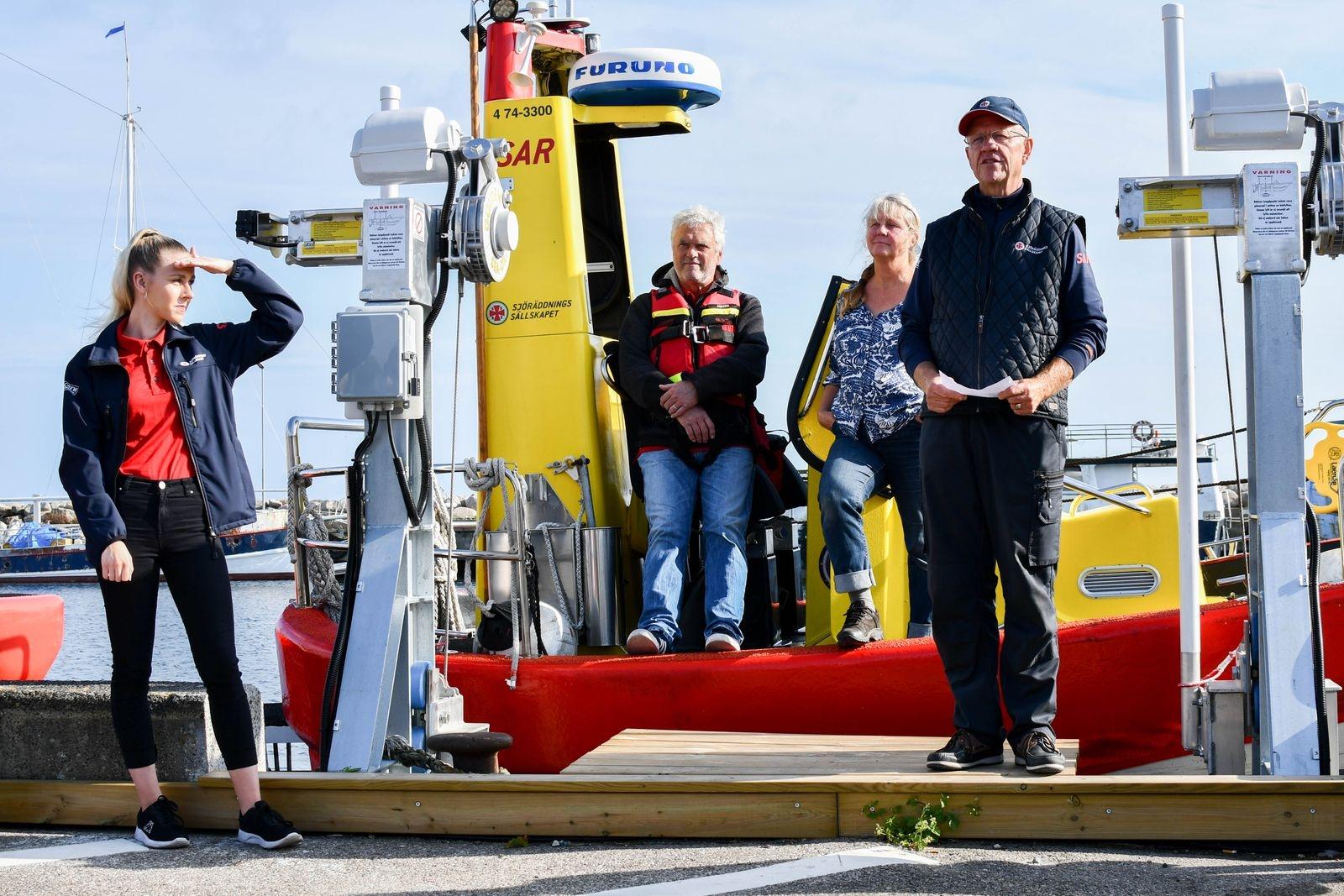 """""""Vi har haft svårt att ta oss riktigt nära kusten med Gad Rausing, med den nya båten kan vi göra mer kustnära räddningar"""" förklarade Anders Nyman under invigningen."""