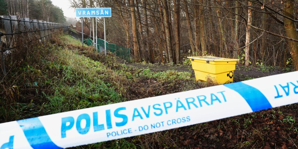 Police barricades at the Vramsån in Tollarp, where Emilia Lundbergs was later found dead on 3rd December  2019.