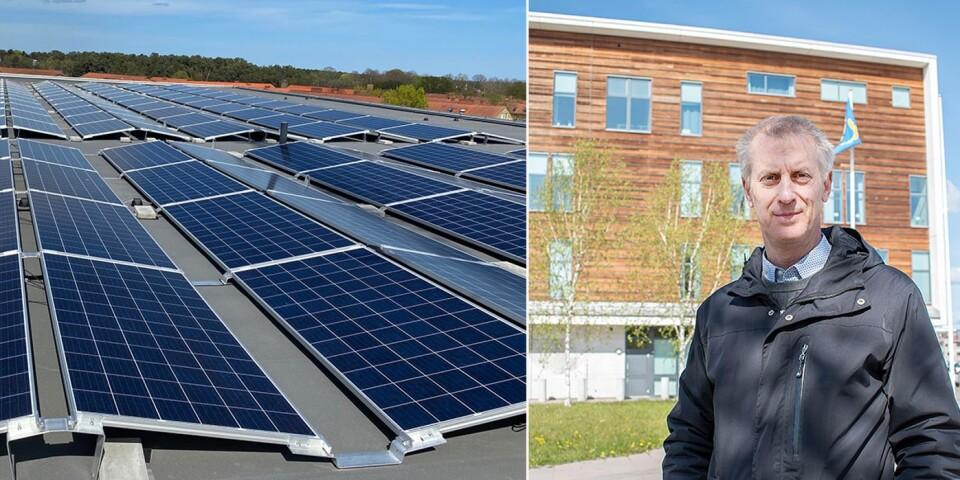 – Elproduktionen för hela fastigheten motsvarar ungefär 26 villor, berättar Lars Blixte från bolaget P&E Fastighetspartner som beräknar att de 304 solcellerna ska minska förbrukningen med 30 procent.