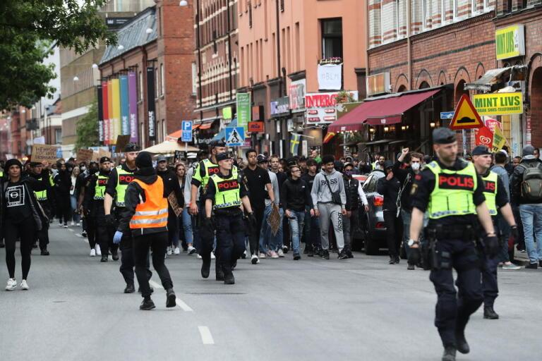 Demonstranterna tågade genom centrala Malmö.