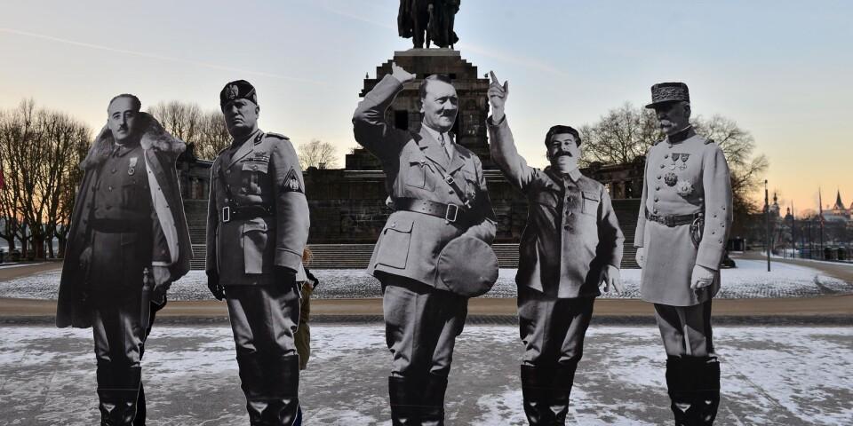 Hitler, Stalin, Mussolini, Franco och Petain i storformat i den tyska staden Koblenz. Bilderna uppfördes av medborgarrörelsen Avaaz i januari 2017, och det med anledning av ett stormöte mellan representanter från olika delar av extremhögern.