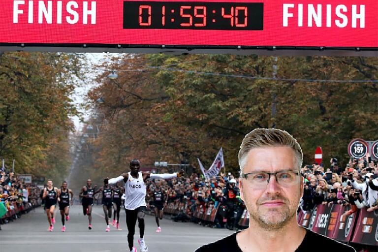 Ett sanslöst rekord, 1.59,40 på ett maraton.