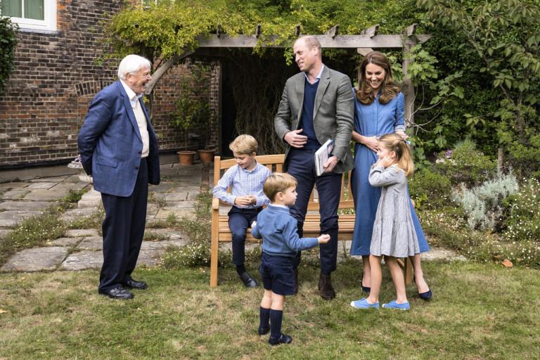 Sir David Attenborough överräckte hajtanden till den brittiska kungafamiljen.