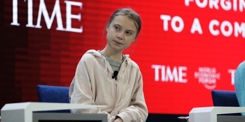 Den svenska klimataktivisten Greta Thunberg i Davos.