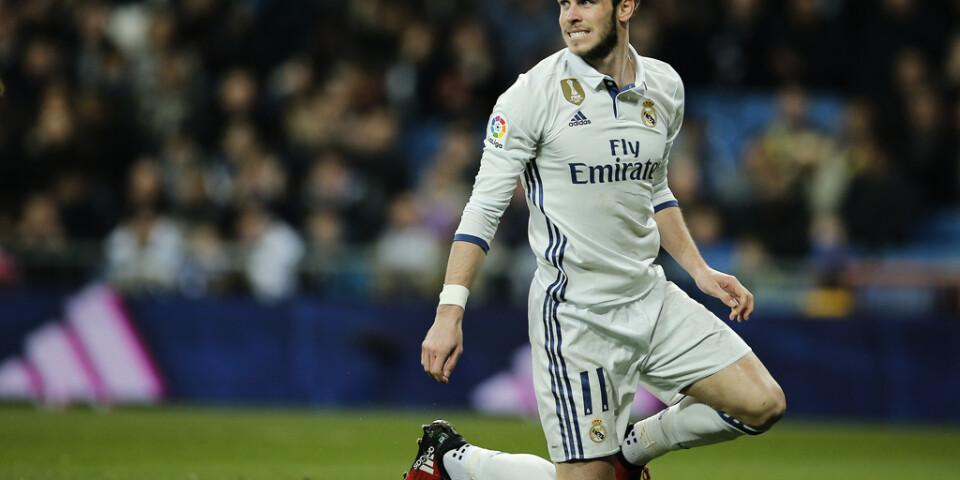 Gareth Bale grinar illa efter att ha blivit skadad igen. Det blev 34 skador under sju år i Real Madrid. Arkivbild.