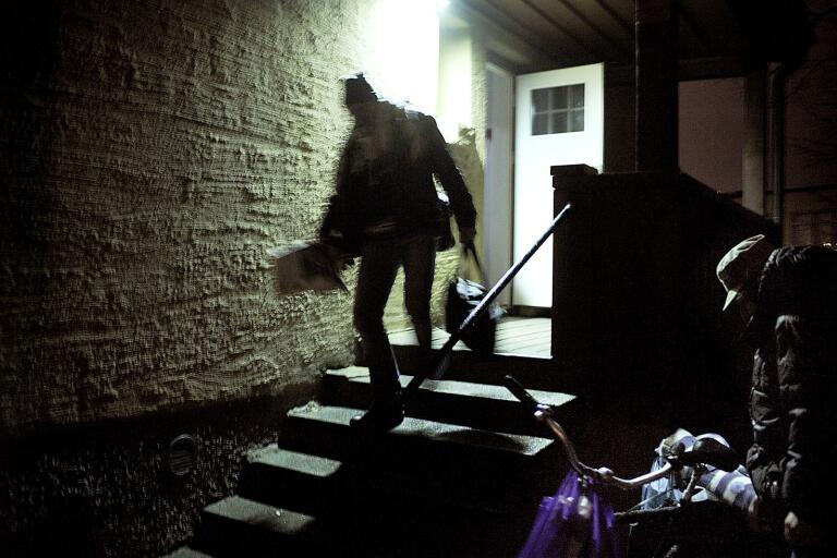 Hemlös som har tillbringat natten på Nattjouren, Stadsmissionens Nattjour på Näsby i Kristianstad.