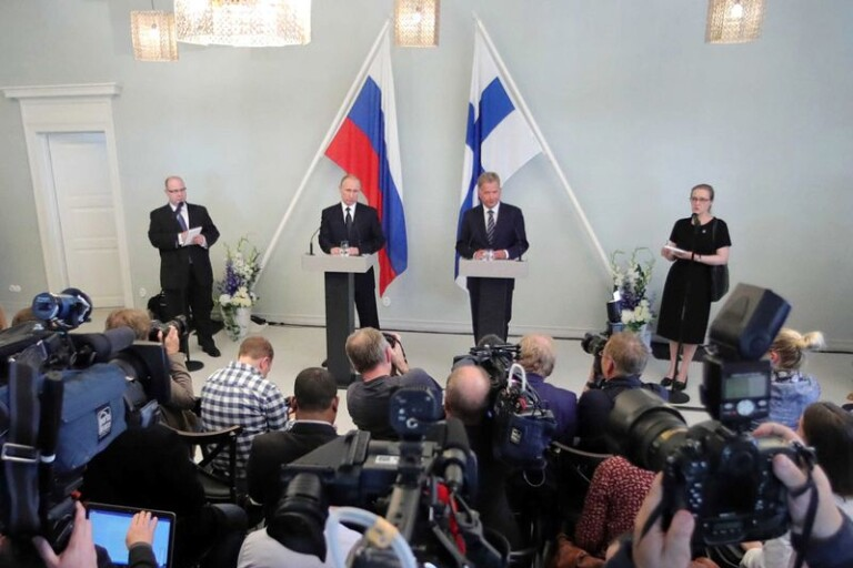 En bild från 27 juli i år då Finlands president Sauli Niinistö återigen träffade Rysslands president Vladimir Putin, denna gång i Savonlinna i östra Finland.