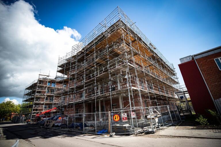 Hälsohuset i Trelleborg är ännu under uppbyggnad. Så här såg det ut i maj i år.