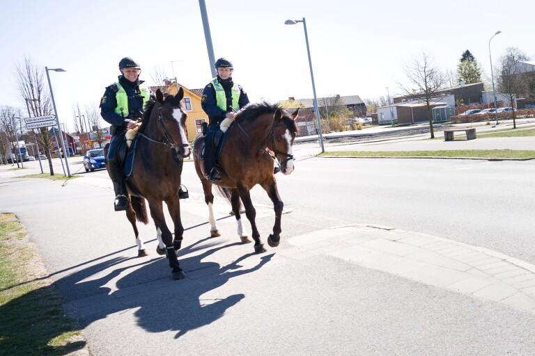 Hästar och personal från polisrytteriet finns på torget i Ronneby onsdagen den 23 september.