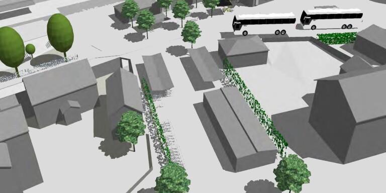 Så här är det tänkt att cykelgaraget och de nya cykelställen ska placeras vid Herrljunga station.