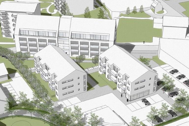 Ludvigsons Invest tänker bygga 60 lägenheter fördelade i tre hus mellan Nettohuset och Arvidsgården.