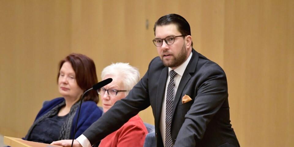 Sverigedemokraternas partiledare Jimmie Åkesson (SD) under partiledadebatten i riksdagen i förra veckan.
