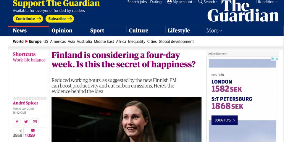 Brittiska The Guardian var en av många som spred uppgifterna om sextimmarsdagens vidare.