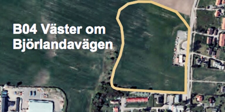 Området ligger utmed Björlandavägen. Bilden är från kommunens förslag till ny fördjupad översiktsplan, som nu är ute på samråd. Där föreslås det vara ett område som kan bebyggas.