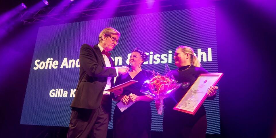 Överraskade vinnare av Gilla Kkarlshamn-priset var Sofie Andersson och Cissi Dahl med företaget Schvung.
