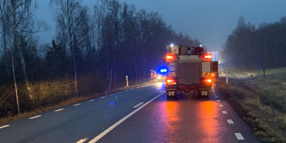 Väg 27 stängdes av under tisdagsmorgonen efter att en bil krockat med ett vildsvin i Tingsryds kommun.