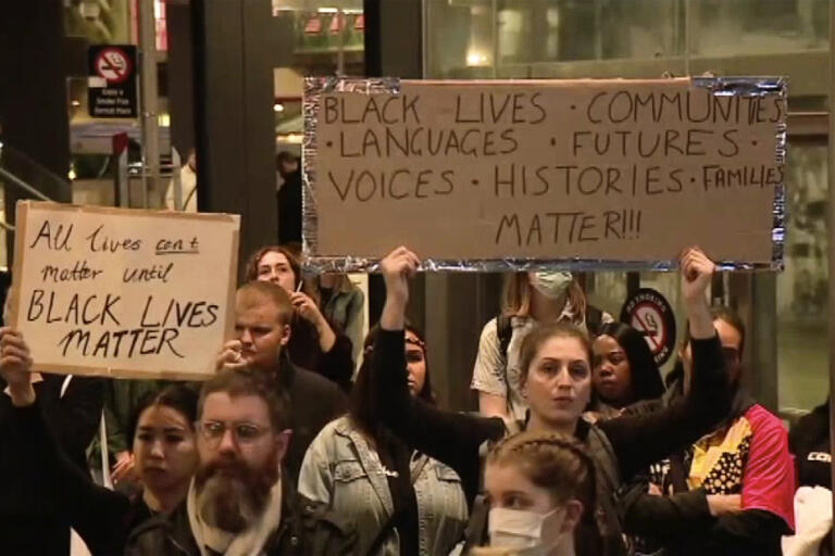 En Black lives matter-demonstration i Perth, Australien, tidigare i veckan.