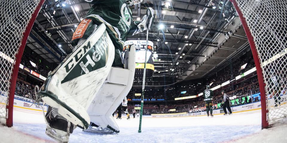Färjestads målvakt Arvid Holm har skrivit på för Winnipeg. Bild från en match mot Skellefteå i vintras.