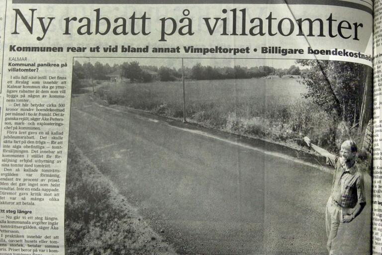 """Så här såg det ut i Barometern för 20 år sedan. """"Lediga tomter är det gott om här i Vimpeltorpet"""", sade kommunens mark- och exploateringschef Åke Pettersson."""