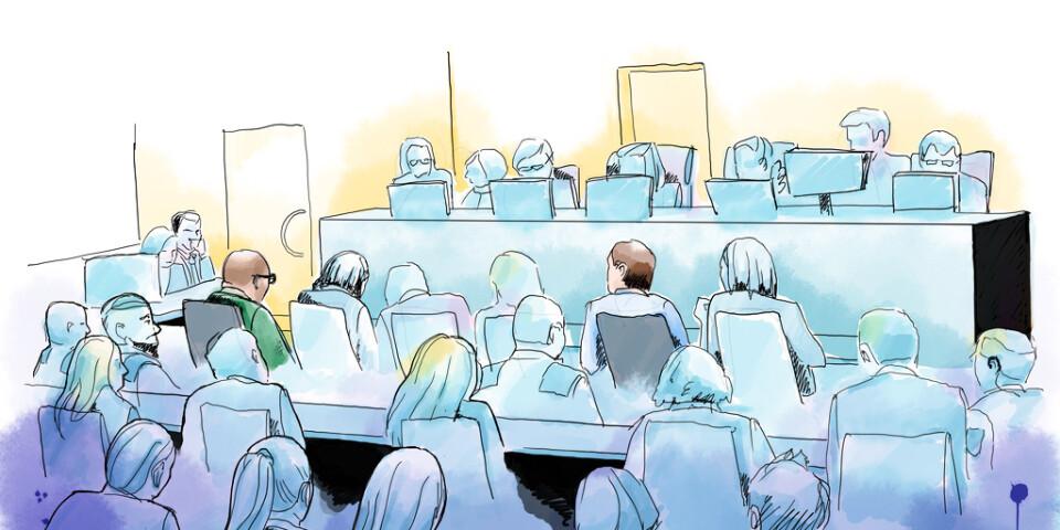 På grund av det stora antalet tilltalade samt att de finns utspridda i Sverige, med merparten i Uppsala och Göteborg, kunde inte samtliga närvara i rättssalen samtidigt. Flera förhör gjordes via videolänk. Teckning från huvudförhandlingen i Stockholms tingsrätts säkerhetssal.