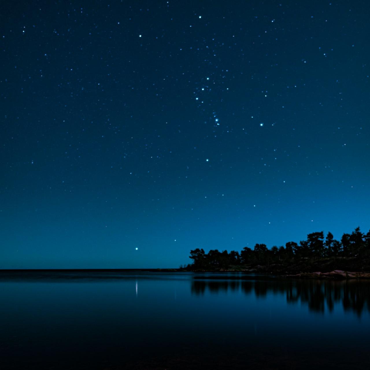 Fredrik Nilssons bild av stjärnhimlen över Ernamar i Oskarshamn.