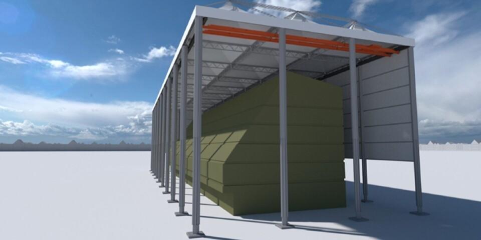Gigantiskt tält skyddar bygget