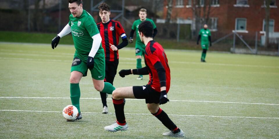 Vanstads IF (i grönt) vann YA-cuppremiären mot Baskemölla IF – men utan att imponera.