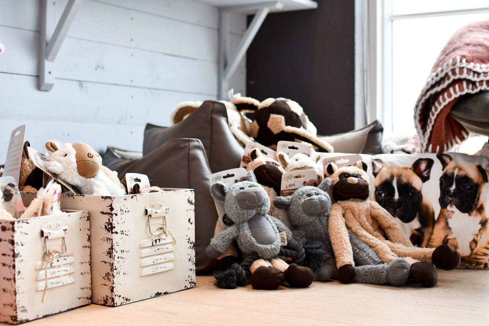 Koppel, halsband, matskålar, bäddar och leksaker, men även inredning och kläder för djurägaren utgör sortimentet.
