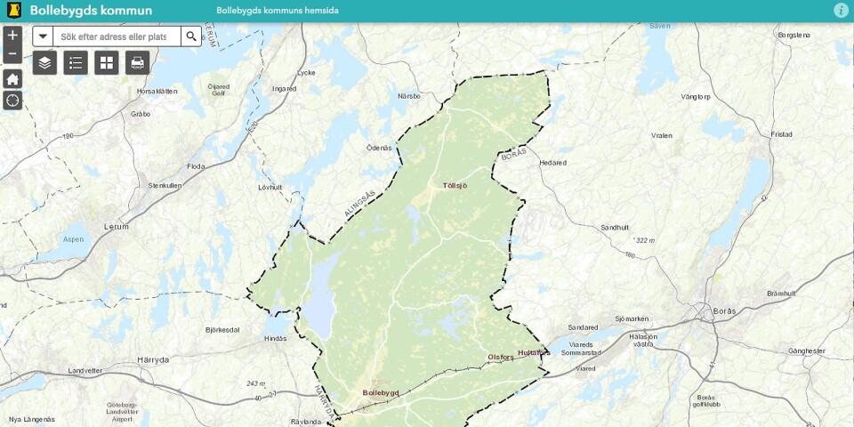 Bollebygds kommuns interaktiva karta har navigeringsknappar och sökruta (bild från kommunens hemsida).