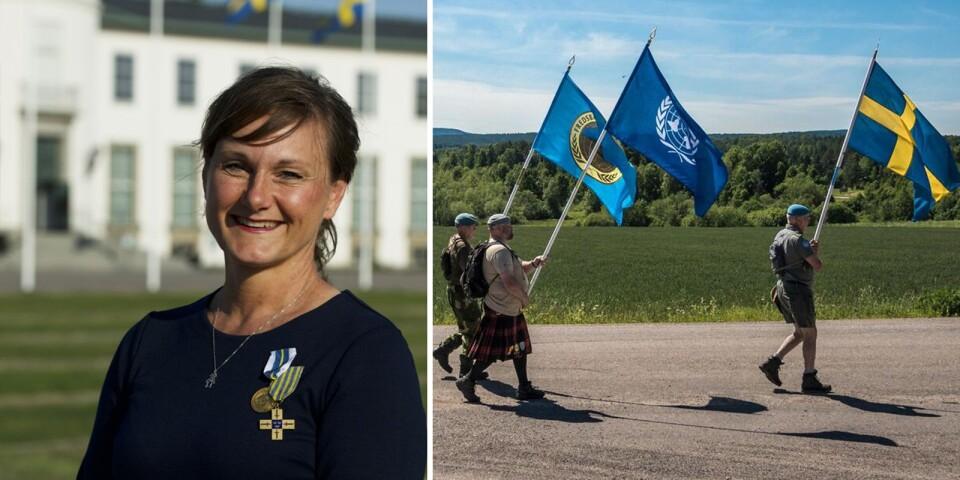 Årets Veteran Annicka Engblom deltar i den årliga Veteranmarschen