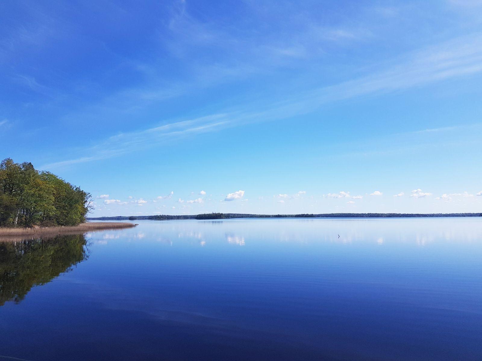 Sjön Åsnen ligger helt vindstilla och spegelblank.