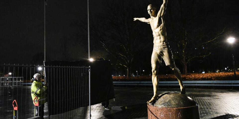 Staket sätts upp kring statyn.