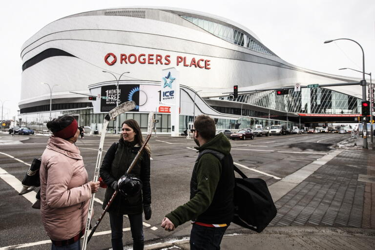 Provinsen Albertas ledare vill att NHL ska undantas från de kanadensiska reserestriktionerna så att Edmonton kan få arrangera slutspelsmatcher i sin arena Rogers Place. Arkivbild.