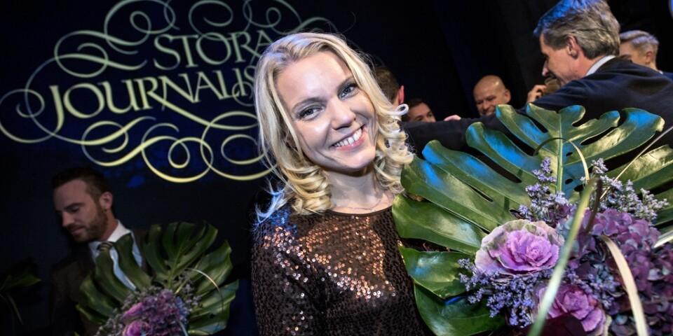 Carina Bergfeldt när hon tog emot Stora journalistpriset i kategorin årets berättare 2012. Arkivbild