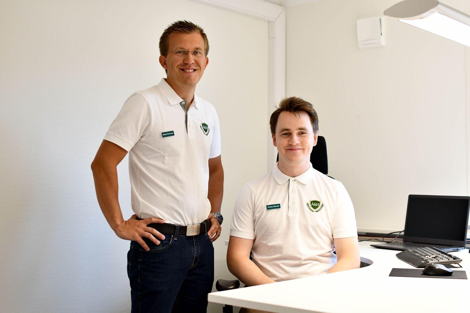 Det är Martin Brorsson och Pontus Einevall som kommer att möta kunderna på nya kontoret i Hammenhög.